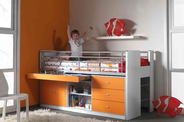 Piętrowe łóżko dziecięce Bonny Orange z szufladami