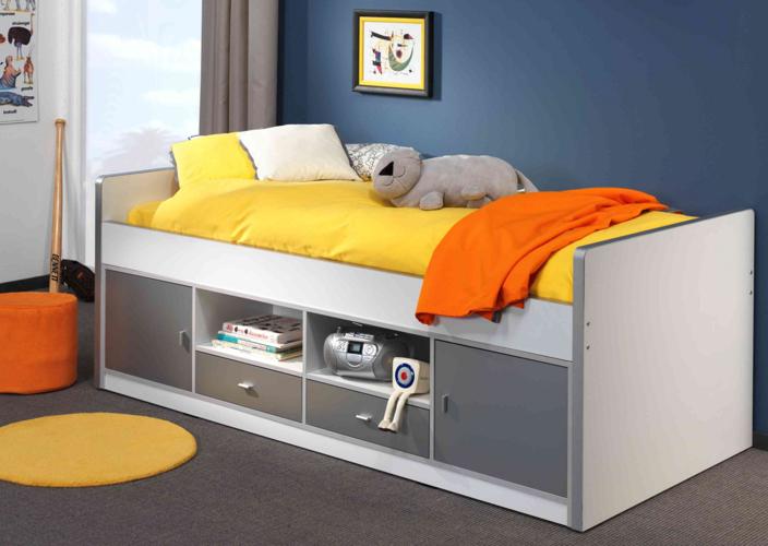 Łóżko dla dzieci i młodzieży z szafkami szare