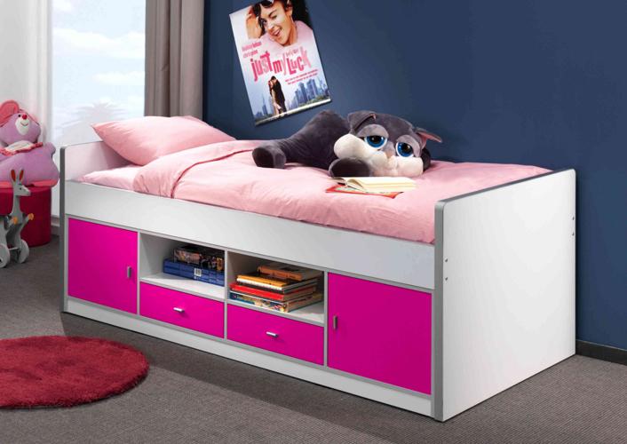 Łóżko dla dzieci i młodzieży z szafkami różowe