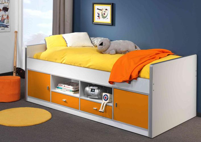 Łóżko dla dzieci i młodzieży z szafkami pomarańczowe