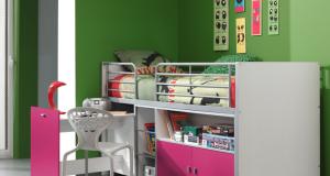 Piętrowe łóżko dla dzieci Bonny Bis Fuksja z biurkiem