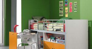 Łóżko piętrowe dla dzieci Bonny Bis Orange z biurkiem