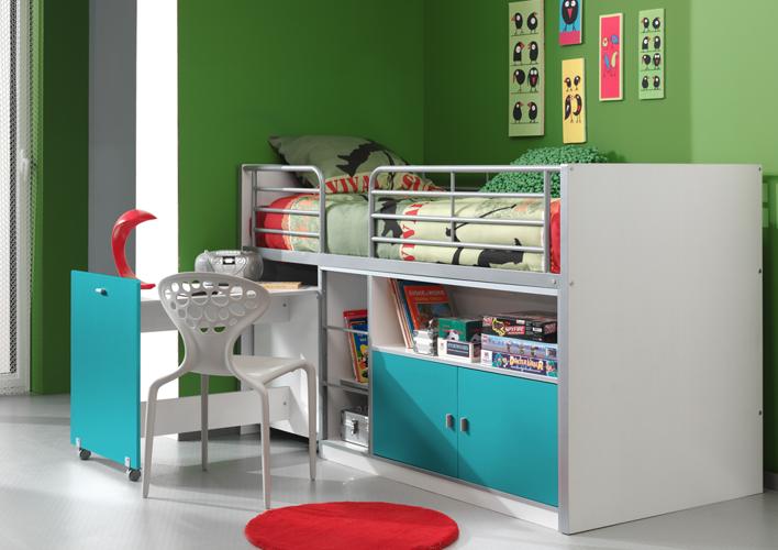 Łóżko piętrowe dla dzieci Bonny Bis Turkus z biurkiem