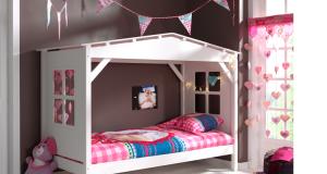 Łóżko drewniane dla dziecka pojedyncze Pino - sosnowy biały domek