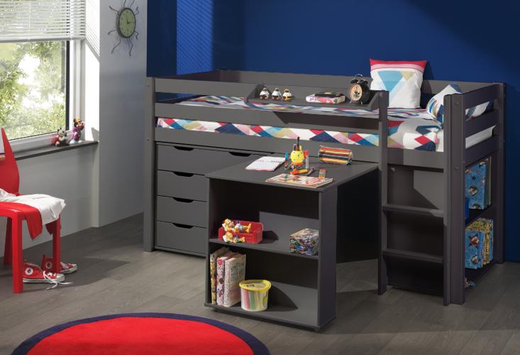 Łóżko piętrowe dla dzieci Pino sosna ciemnoszara