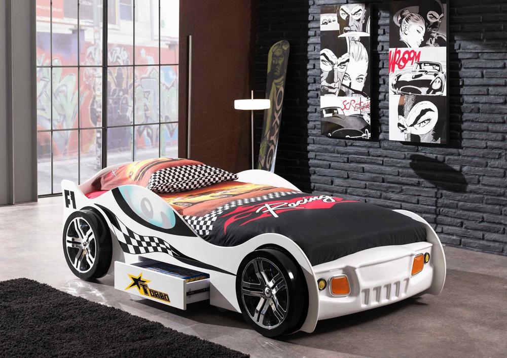 Łóżko dla chłopca Auto Samochód Wyścigowy Biały