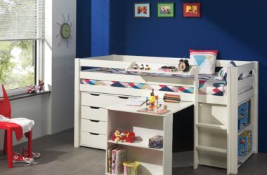Zestaw - Łóżko piętrowe dla dzieci Pino sosna biała