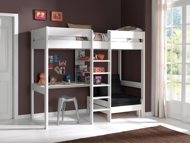 Łóżko piętrowe drewniane dla dziecka Pino Sofabed – biała