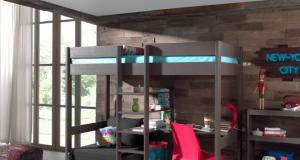 Łóżko piętrowe drewniane dla dziecka Pino Sofabed - ciemnoszare