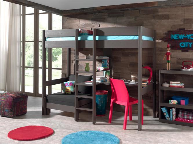 Łóżko piętrowe drewniane dla dziecka Pino Sofabed – ciemnoszare