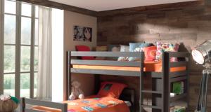 Łóżko piętrowe podwójne Pino - sosna ciemnoszara