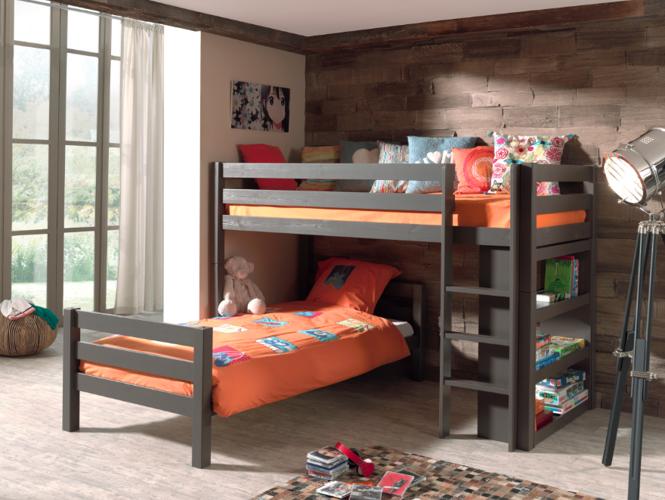 Łóżko piętrowe podwójne Pino – sosna ciemnoszara