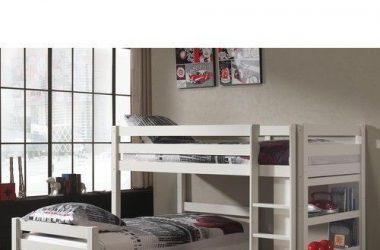 Łóżko piętrowe podwójne Pino - sosna biała