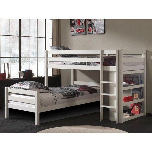 Łóżko piętrowe podwójne Pino – sosna biała