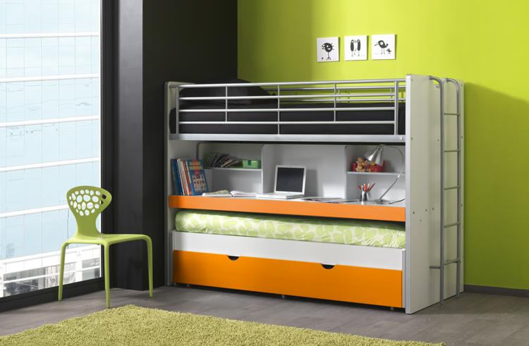 Potrójne łóżko piętrowe Bonny Orange