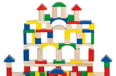 Klocki drewniane dla dzieci, 100 elementów