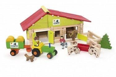 Farma z 140 klocków z traktorem