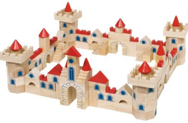 Zamek z drewnianych klocków dla dzieci, 145 elementów