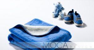 Kocyk dziecięcy niebiesko - kremowy