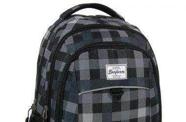 Szkolny plecak młodzieżowy szara krata