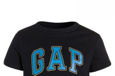 GAP T-shirt z nadrukiem krótki rękaw granatowy