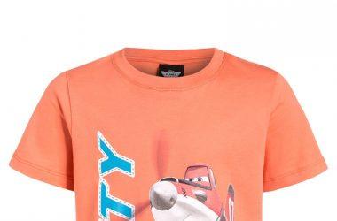 Bawełniana koszulka na lato dla chłopca samoloty pomarańczowa