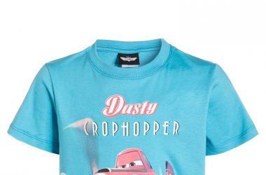 Bawełniana koszulka na lato dla chłopca samoloty niebieska