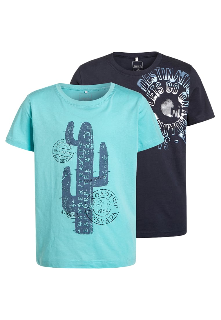 Bawełniany dziecięcy T-shirt krótki rękaw 2-pak niebieski