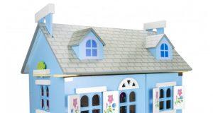 Drewniany domek dla lalek willa alpejska niebieski