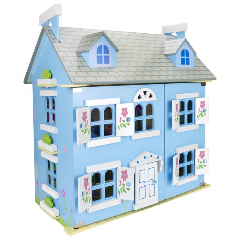 Drewniany domek dla lalek willa alpejska niebieska