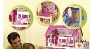 Duży drewniany domek dla lalek Cukrowa Rezydencja z wyposażeniem