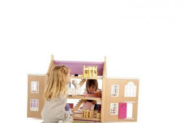 Piętrowy Otwierany Drewniany Domek dla Lalek