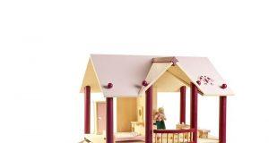 Piętrowy drewniany domek dla lalek z tarasem