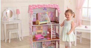 Duży domek dla lalek barbie piętrowy drewniany