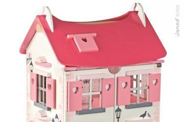 Domek drewniany dla lalek z mebelkami