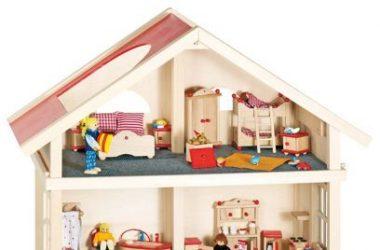 Trzypiętrowy domek dla lalek drewniany