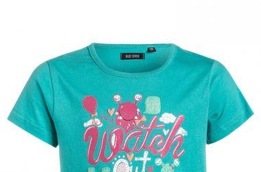 Odzież dziecięca Bawełniana bluzka dla dziewczynki niebieska z napisem