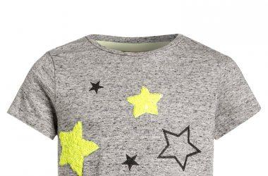 Odzież dziecięca Bawełniana bluzka dla dziewczynki szara gwiazdy