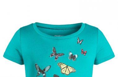 Bawełniana bluzka dla dziewczynki niebieska motylki ubrania dla dziewczynek