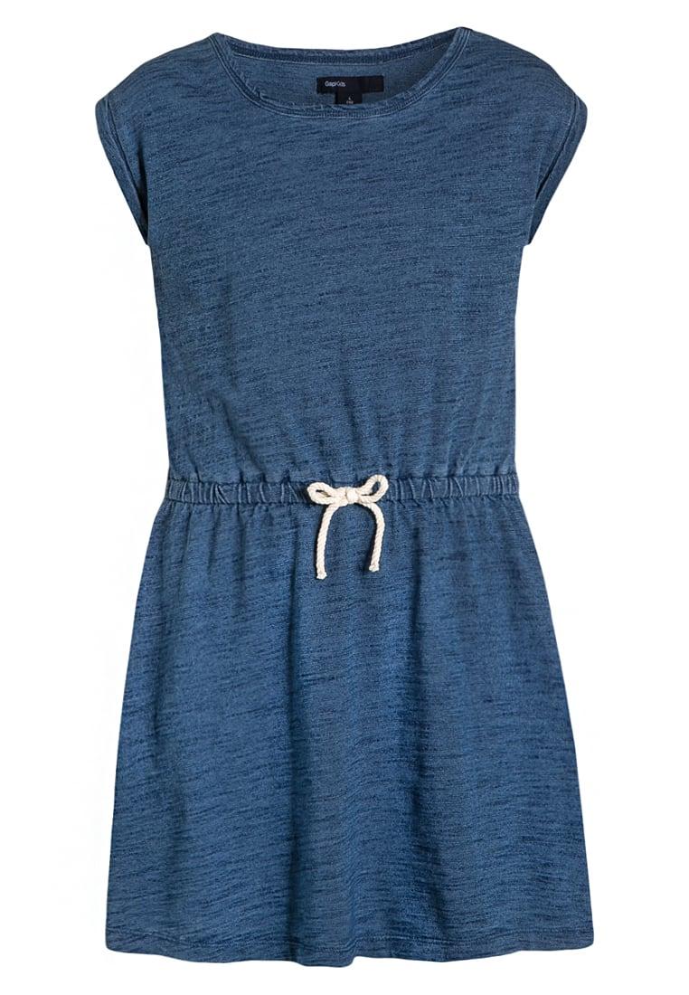 Letnia sukienka dla dziewczynki wiązana w pasie granatowa