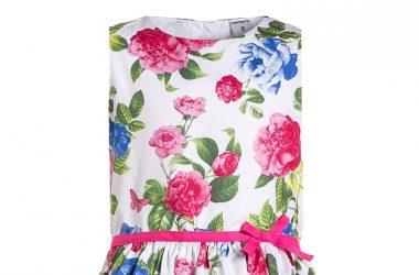 Elegancka sukienka koktajlowa dla dziewczynki kwiaty