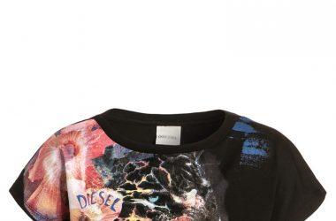 Krótka letnia koszulka dla dziewczynki Diesel czarna