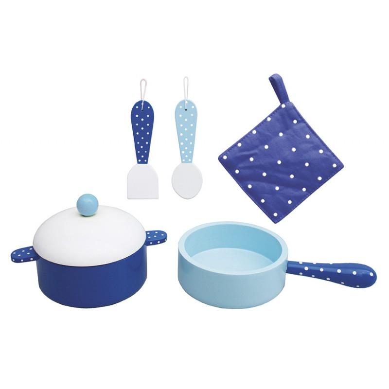 Naczynia dla dzieci niebieskie garnki