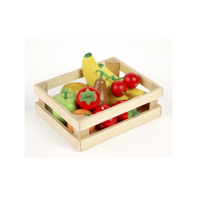 Drewniane owoce w skrzyneczce dla dzieci