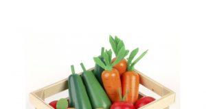 Drewniane warzywa w skrzyneczce dla dzieci