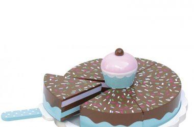 Drewniany tort czekoladowy zabawa w gotowanie dla dzieci