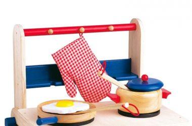Przenośna kuchenka drewniana dla dzieci