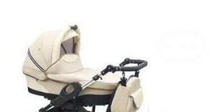 Wózek wielofunkcyjny dla dziecka z fotelikiem samochodowym kremowy