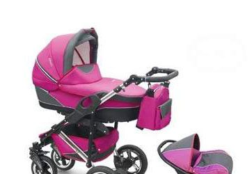 Wózek wielofunkcyjny dla dziecka z fotelikiem samochodowym różowy