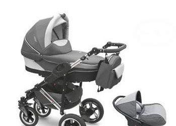 Wózek wielofunkcyjny dla dzieci z fotelikiem samochodowym szary